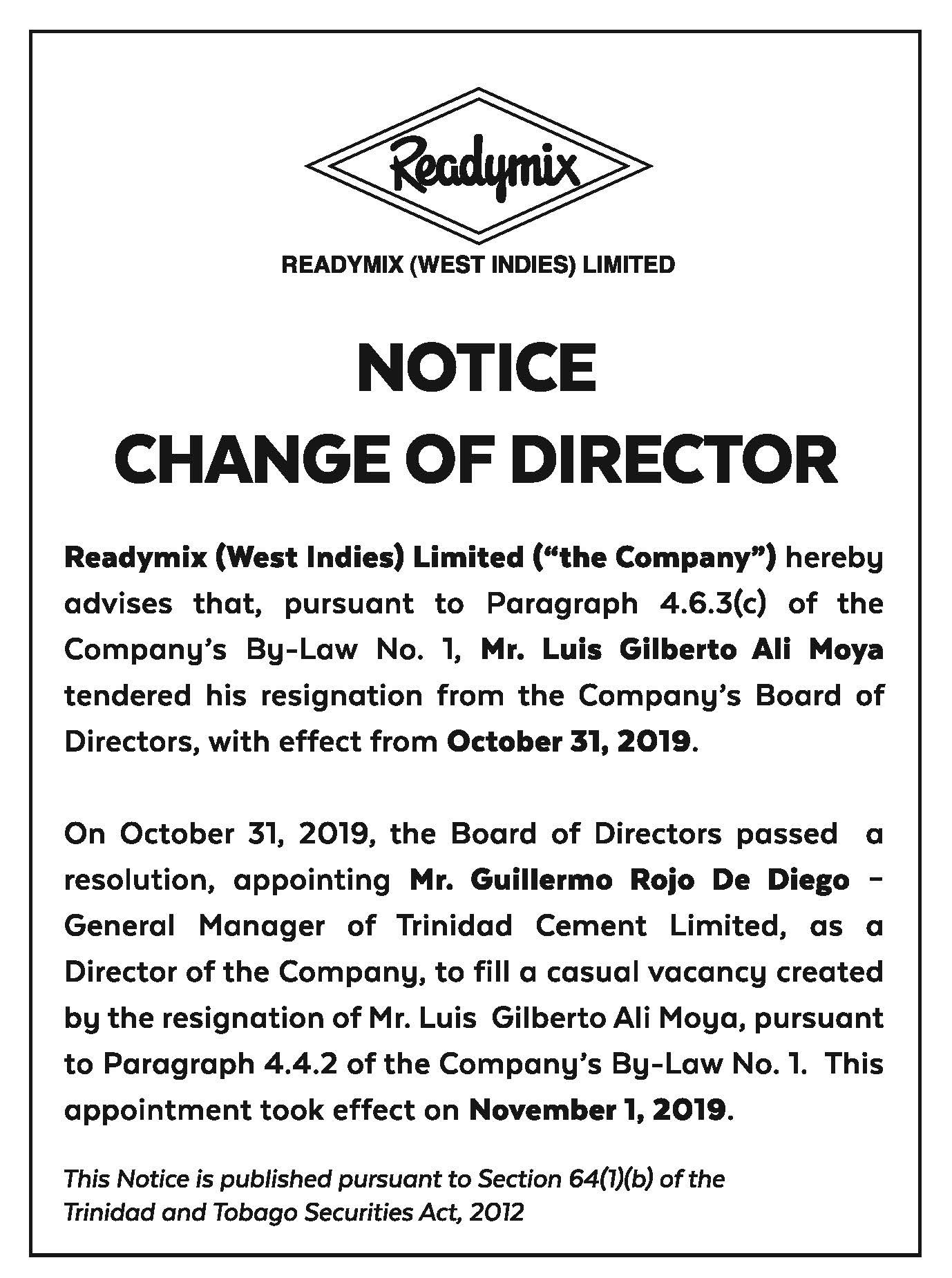 RML NOTICE AD-15X3-Changes to DIRECTOR-FAW