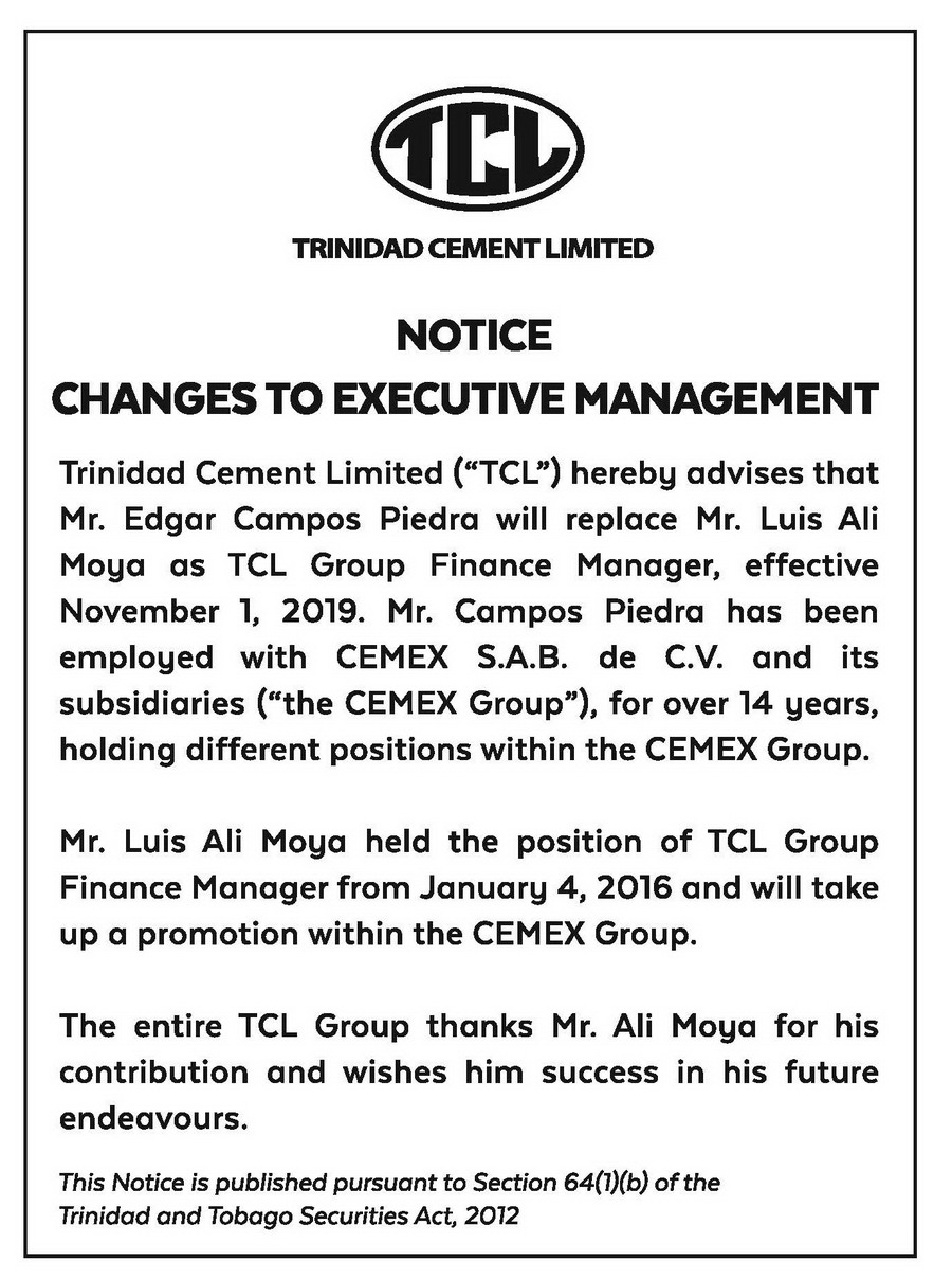 TCL NOTICE AD-15X3-Changes to Executive Management-FAW (003)