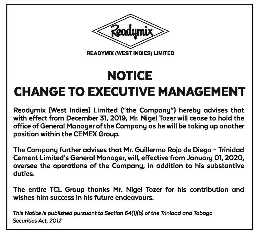 RML NOTICE -10X3-CHANGE TO EXECUTIVE MANAGEMENT- NIGEL TOZER - FAW