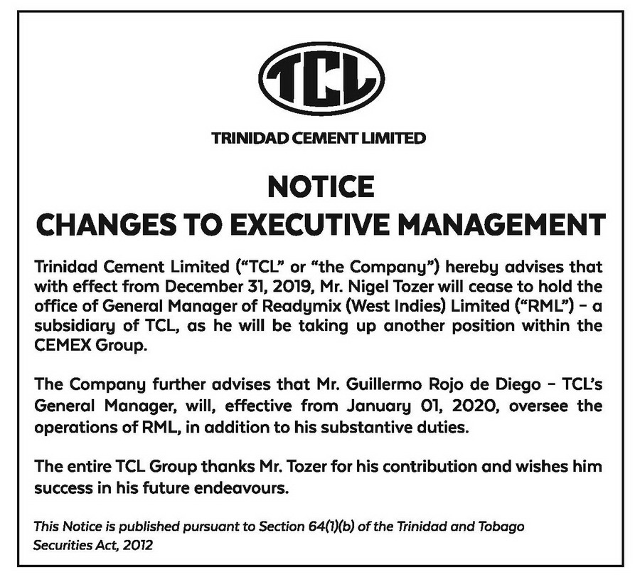 TCL NOTICE-10X3-CHANGES TO EXECUTIVE MANAGEMENT-NIGEL TOZER - FAW