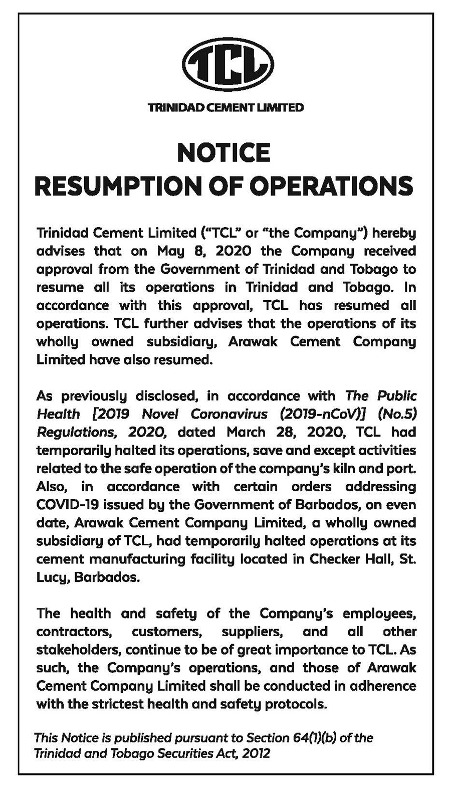 2020-TCL-NOTICE-AD-20X3----RESUMPTION-OF-OPERATIONS-faw